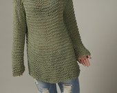 Hand knit sweater - Eco cotton oversized sweater in Frost Green