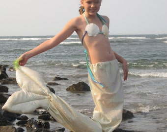 Teenage mermaid tail with shell top