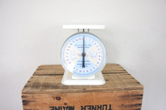 Vintage Scale // 1960s Industrial Scale // Bold White Postage Scale // Shabby Chic Nursery Scale