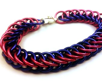 Pink and Purple Anodized Aluminum Half Persian 4in1 Bracelet