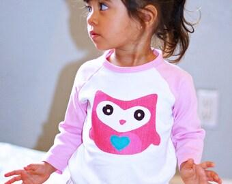 Olivia the OWL TODDLER GIRL Raglan Tee 12 Months to 6/7