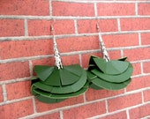 Green Flirt with Flare leather earrings - The Earjeans 365 Collection 229