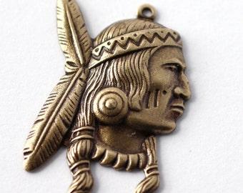 2pc Indian Brave Charm, Oxidized Brass (BCGX)