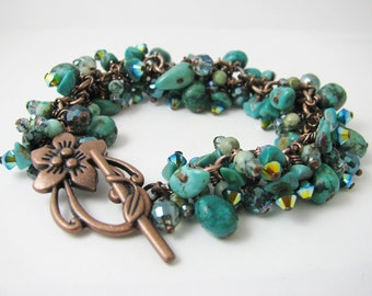 Turquoise Lovers Dream Bracelet- Cluster bracelet with Chinese Turquoise, Swarovski Crystals, African Turquoise, and Sparkly Glass