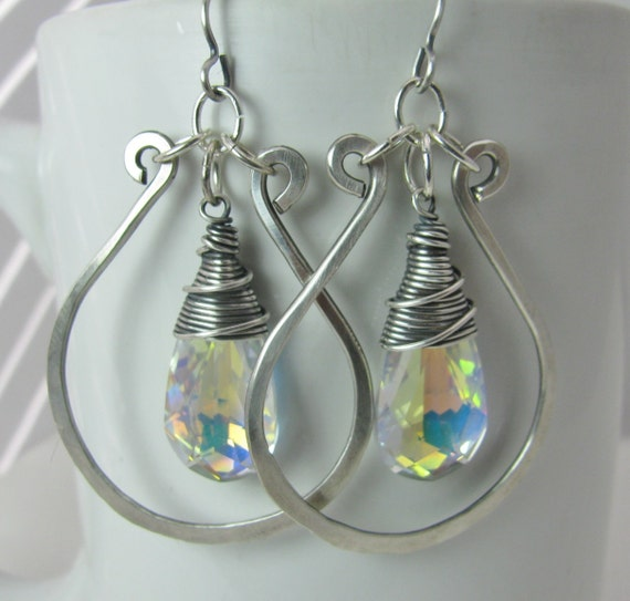 Aurora Borealis Crystals wrapped in Silver Wire with Hammered Silver Hoops