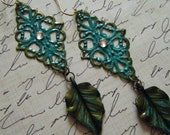 Patina Blue Filigree Dangles/FREE SHIPPING