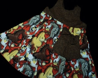Reversible Horse Bow Dress sizes 7-10 years