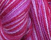 Alpaca lace yarn: pink laceweight alpaca silk, 440 yards wool blend, dark pink magenta fuchsia light pink variegated, very soft