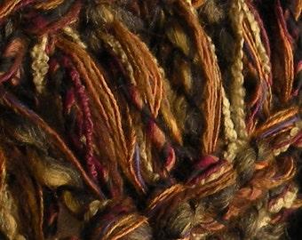 Men's scarf, long hand knit cinnamon brown gray tan rust plum green multicolor, rustic warm wool cotton winter fashion women adults i960