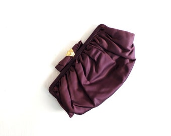Vintage 1950s Purse / Brown Satin Clutch / Evening Bag / 50s Purse
