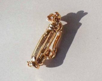 Vintage gold golf bag pin brooch men women unisex