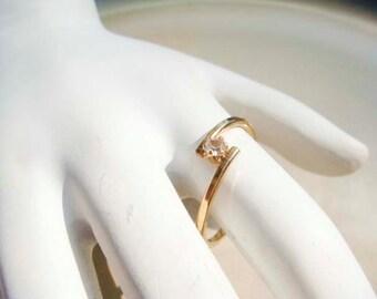 Vintage Gold Floating Diamond Ring AVON size 9