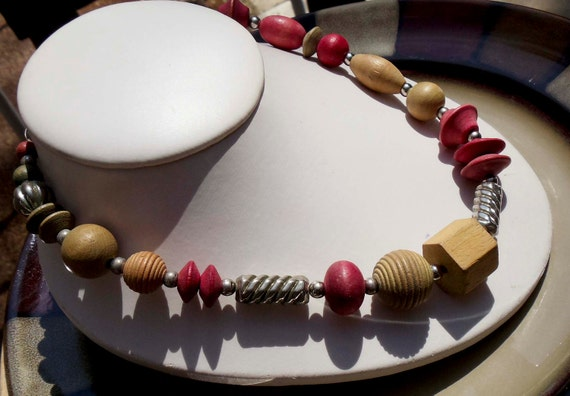 Vintage Wooden Bead necklace silver findings