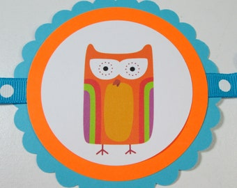 SALE/CLEARANCE Retro Owl Boy Birthday Banner
