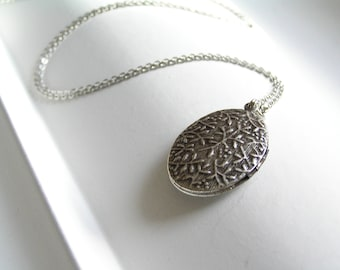 SALE Vintage Locket Long Silver Necklace
