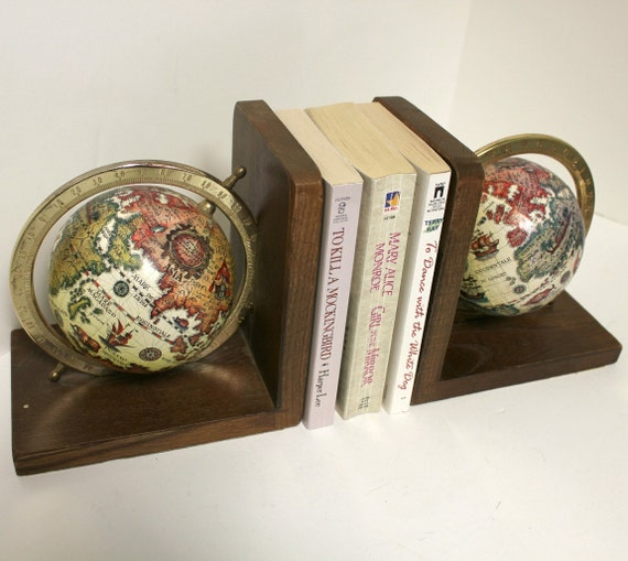 Vintage Pair World Globe Bookends Book Ends