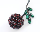 Warner Rhinestone Brooch - Vintage Cherry Japanned pin SALE
