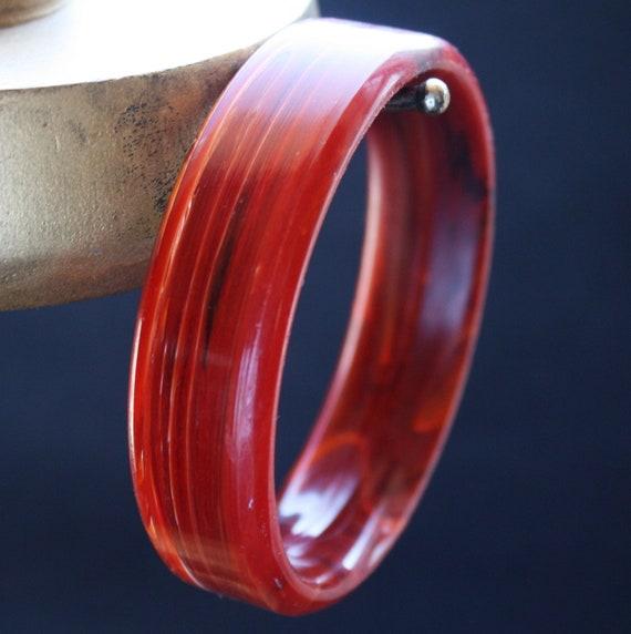 SALE - Vintage Red Bracelet Bangle Marblized