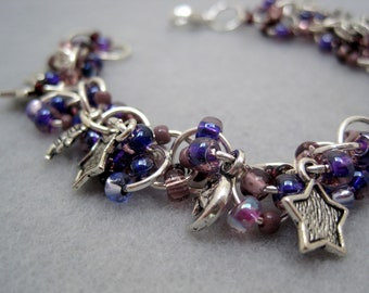 Beaded Bracelet - Silver Links - Celestial Stars Moons Purple by randomcreative on Etsy