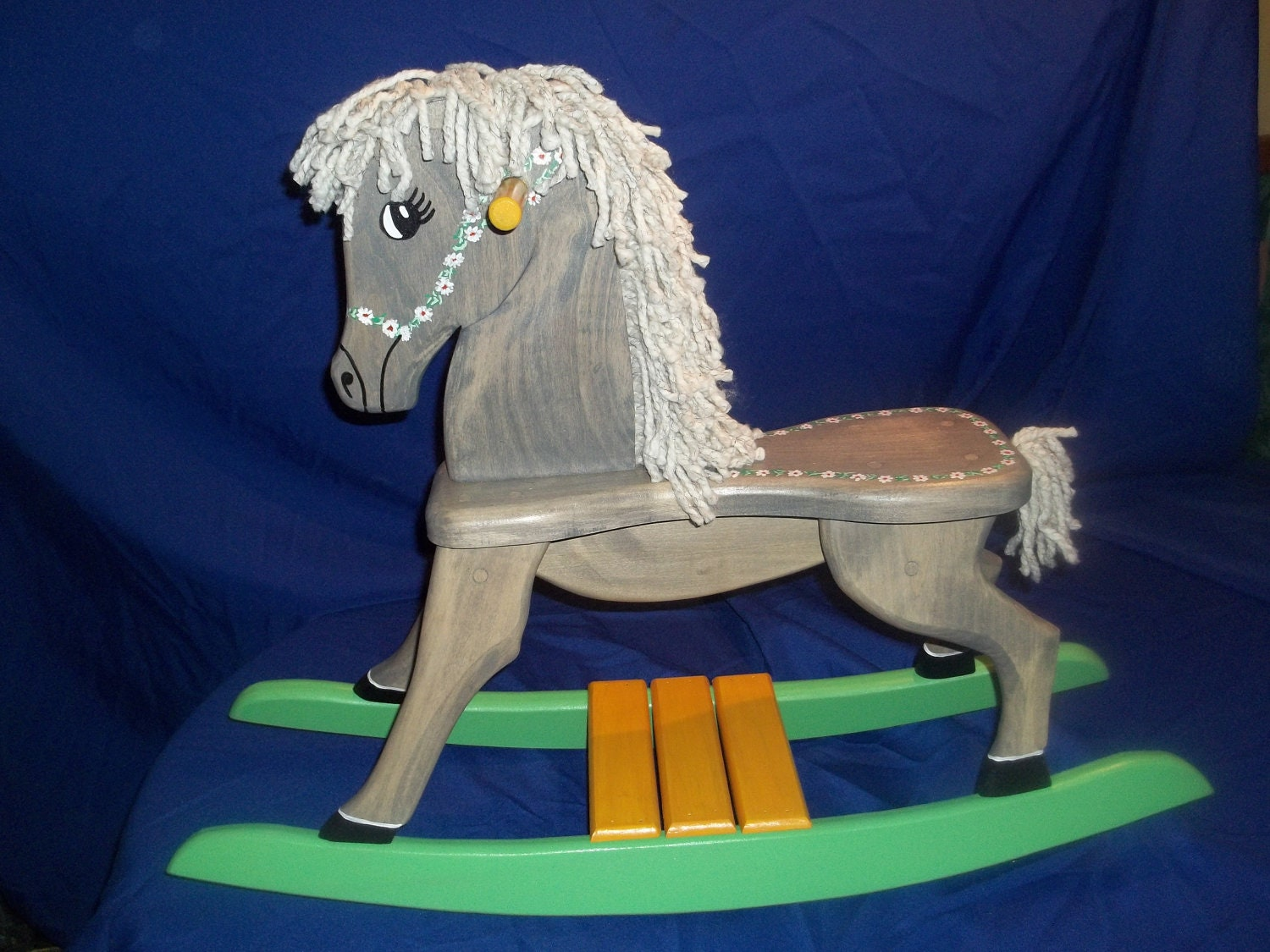 Gray stained handmade wooden rocking horse for Hand crafted rocking horse