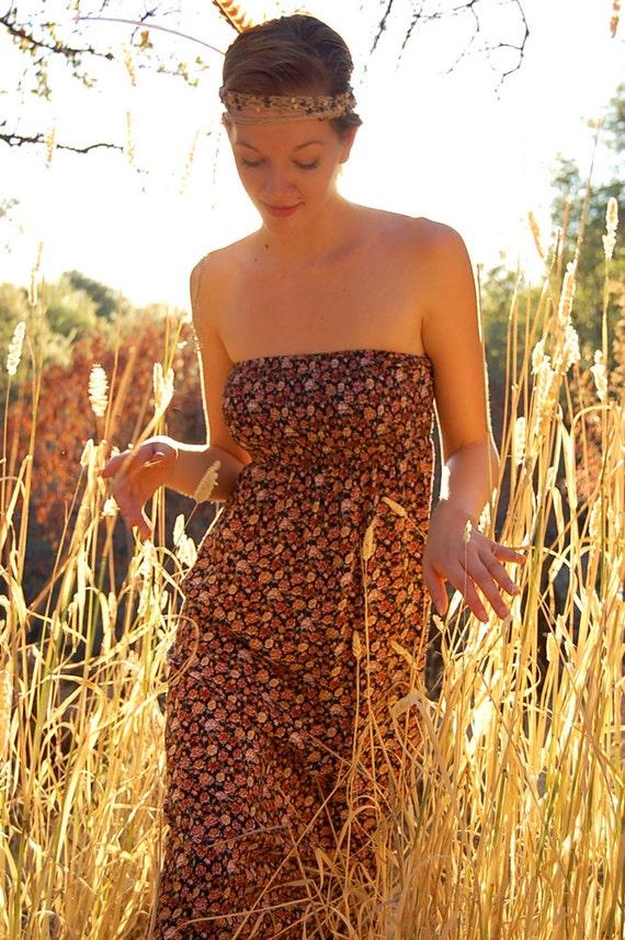 Tube Maxi Dress Vintage Black Ditsy Floral Boho Hippie Smocked Tube Maxi Dress (s m)