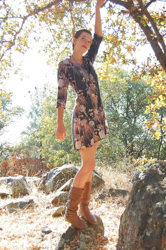 Baby Doll Dress Vintage 70s Charcoal Autumn Foliage Boho Hipster  Mini Dress (s m)