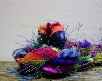 roy g biv fringe effects™  21yds of specialty art yarns rainbow fiber bundle . red orange yellow green blue indigo violet