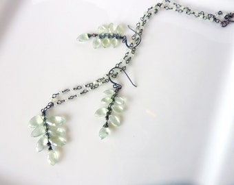 Prehnite Fern Leaf Fine Silver Necklace and Earring Set - One of a Kind - Free Shipping