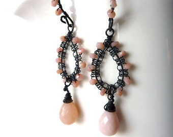 Pink Opal Dangle Earrings -  Oxidized Sterling Silver - Tagt - Free Shipping