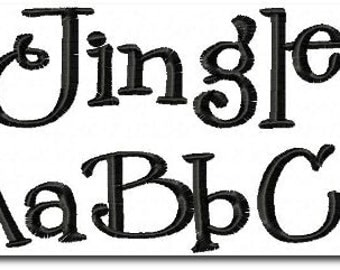 Jingle Embroidery Font 4 Size