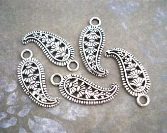 Silver Paisley Charms Filigree Pendants