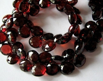 Garnet Gemstone. Faceted Heart Briolette, 7-8mm.  Semi Precious Gemstone. Packet of 2. (6GN4). Reduced from  5.70