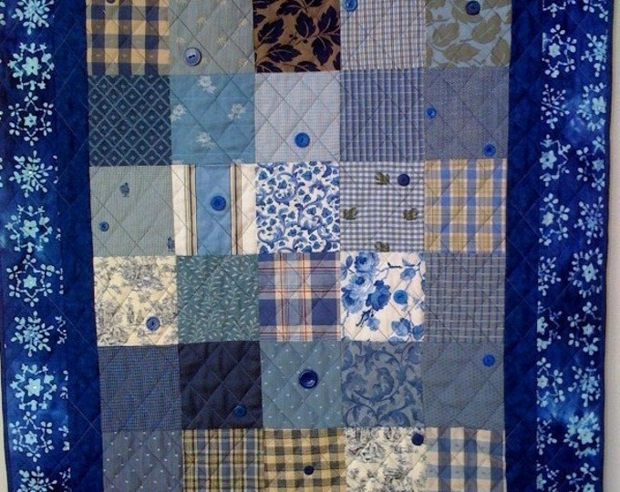 Winter Blues, 37 x 44 inch quilted wallhanging