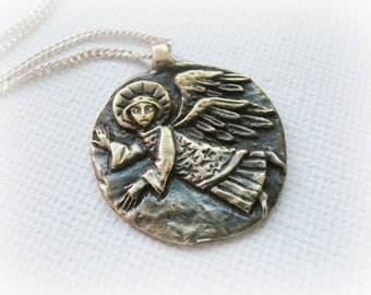 Guardian Angel necklace sterling silver and solid brass - christmas token jewelry - Gold Guardian Angel Charm