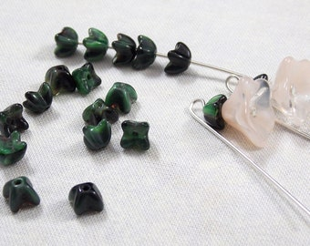 Green  Swirled with Black Four Petal Glass Flower Cap Beads, 25