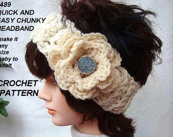 crochet pattern for headband/earwarmer with flower, quick and easy  . Make it Any size, baby, children, adult, pdf pattern num. 489