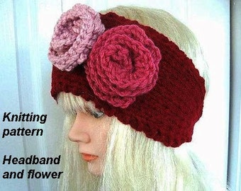Knitting Patterns, Headband and flowers Red button up, num 430,  children to adult, instant digital download