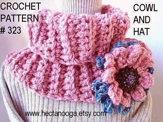 crochet pattern  COWL and  HAT num 323. Make a Cowl or  a Hat. Beginner Level...Instant download