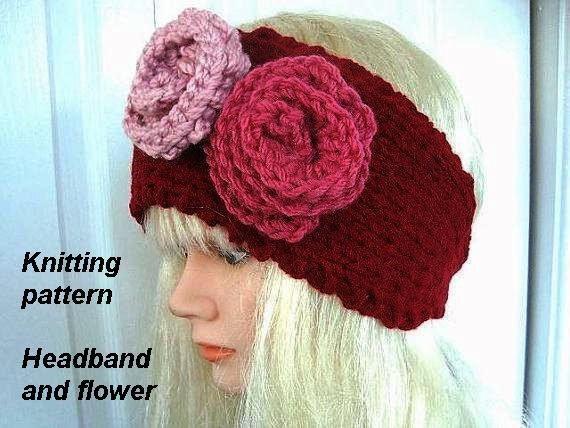 Knitting Pattern Headband With Button : Knitting Patterns Headband and flowers Red button up by ...
