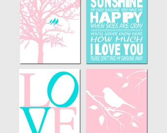 Aqua Pink Nursery Art Quad - You Are My Sunshine, LOVE, Birds in a Tree, Bird on a Branch - Set of Four 8x10 Prints - Choose Your Colors