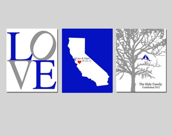 Modern Newlywed Trio - Love, Family Established Bird Tree, State Silhouette Map - Set of Three 8x10 Prints - GREAT WEDDING GIFT