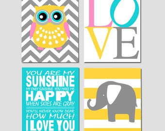 Nursery Art Prints Quad - Chevron Owl, Love Typography, Elephant Stripe, You Are My Sunshine - Set of Four 11x14 Prints - CHOOSE YOUR COLORS