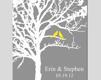 Lovebird Wedding Tree - 8x10 Custom Print - Anniversary, Newlyweds, Wedding Gift - CHOOSE YOUR COLORS - Shown in Gray, Yellow, and More