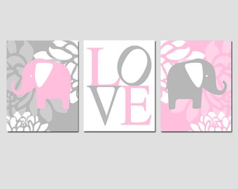 Modern Elephant Love Trio - Set of Three 11x14 Nursery Art Prints - CHOOSE YOUR COLORS - Shown in Light Pink, Pink, Pale Gray, Gray