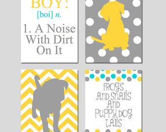 Boy Puppy Dog Nursery Art - Set of Four 11x14 Prints - Boy A Noise With Dirt, Chevron Frog, Polka Dot Puppy Dog, Snails - CHOOSE YOUR COLORS