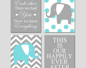 Modern Nursery Quad - Set of Four 8x10 Prints - Now We Have Everything, Chevron Elephant, Our Happily Ever After, Polka Dot Elephant