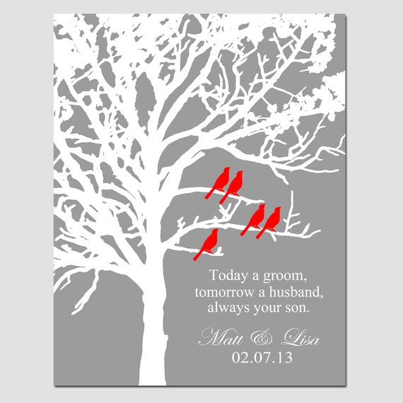 always your son family tree wedding gift for parents 11x14