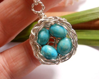 Four Egg Birds Nest Necklace Solid Sterling Silver with Speckled Robins Eggs Gemstone Wire Wrapped