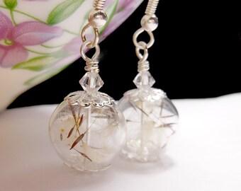 Silver Dandelion Earrings Make A Wish Dandelion Seed Hollow Lampwork Bead Round Earrings