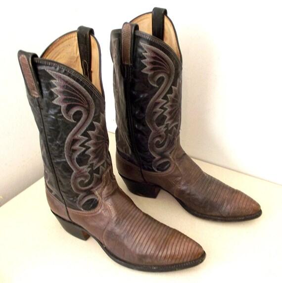 Dan Post Black Leather and Lizard skin cowboy boots size 11 B